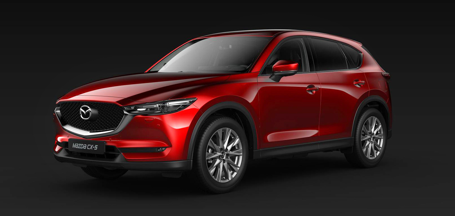 Mazda CX-5 2020 in Magmarot Metallic, Ansicht links vorne